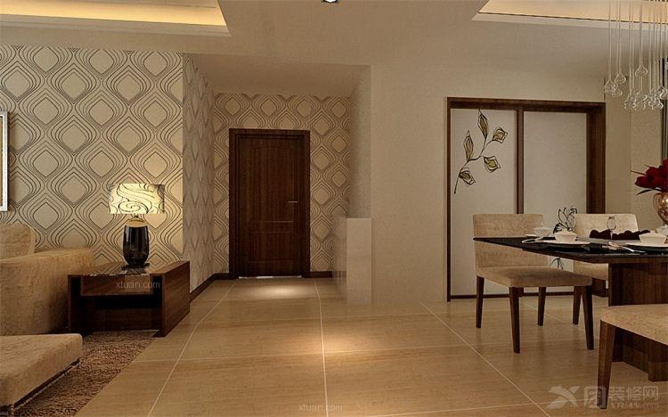 兩室兩廳現代簡約_紫金風景線裝修效果圖-x團裝修網