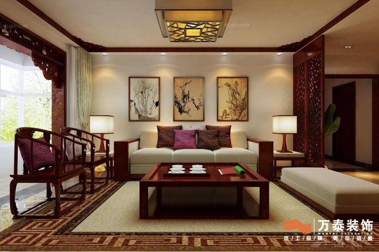 三居室中式风格客厅沙发背景墙_泰安奥林匹克花园