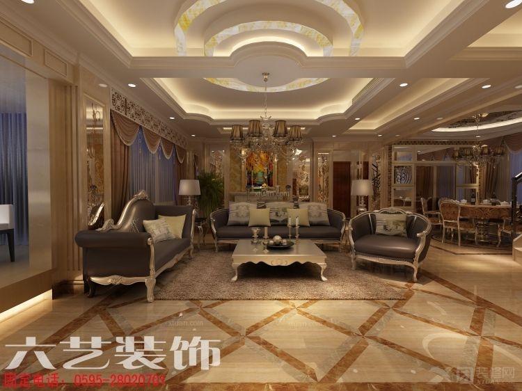 复式楼欧式风格客厅沙发背景墙_泉州鲤景湾--上下套房打通为复式楼图片