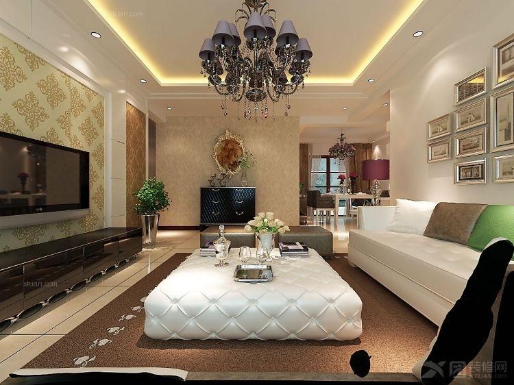三室两厅欧式风格客厅沙发背景墙_曼哈顿148平简欧风格