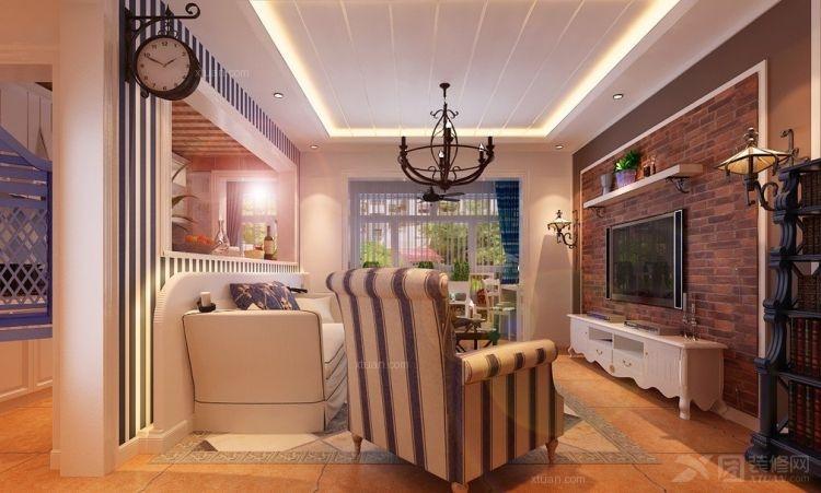 90平米三居地中海风格客厅电视背景墙装修效果图