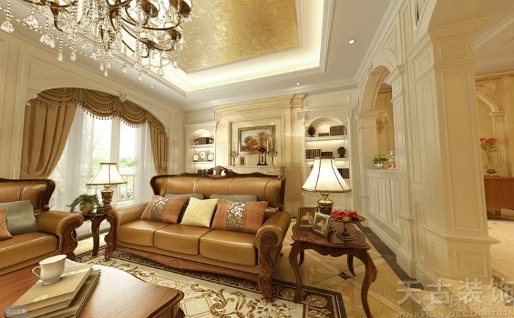别墅欧式风格客厅沙发背景墙_融创伊顿庄园别墅美式大气设计图片
