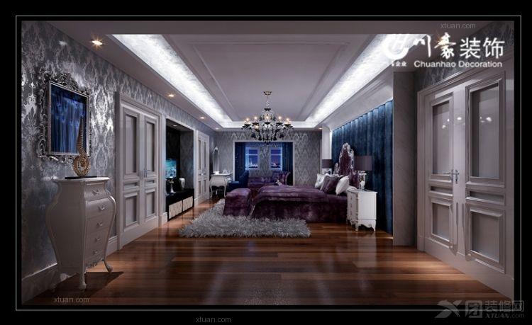 实木衣柜实木床装修效果图  户型:两室两厅 房间:卧室 风格:简欧风格
