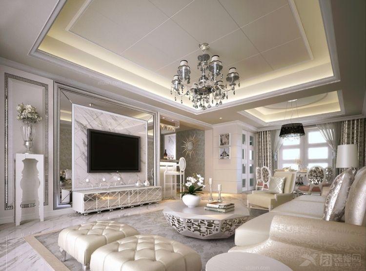 中式别墅客厅装修效果图 客厅装修效果图  户型:三室一厅 房间:客厅