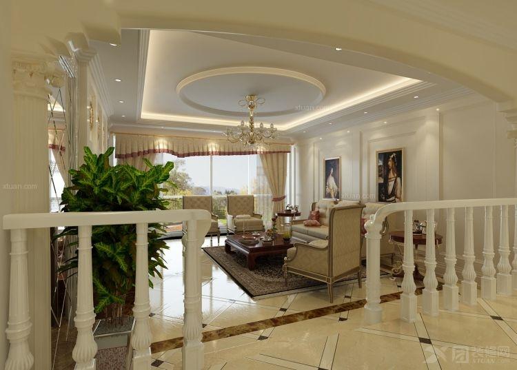 三室两厅地中海风格客厅圆形吊顶_紫金城