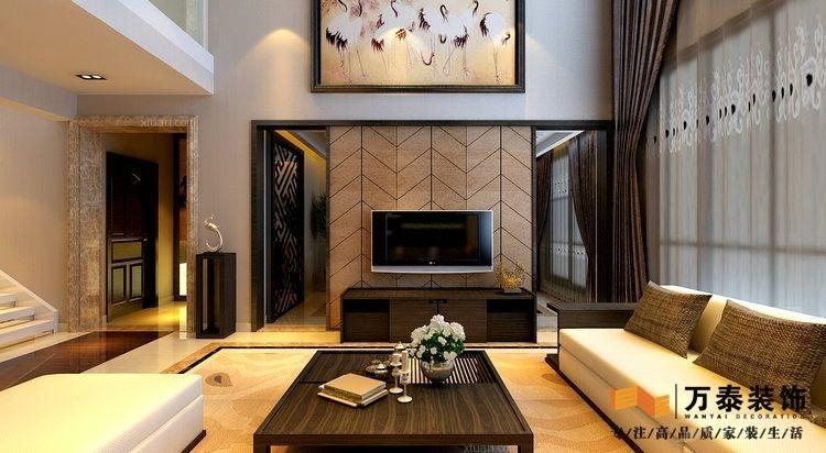 别墅中式风格客厅电视背景墙_新时代的演绎:济宁南池公馆 新中式风格图片