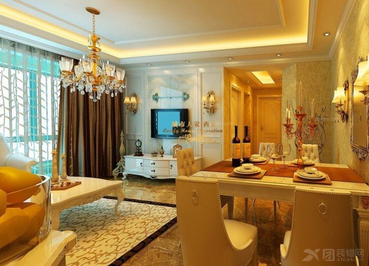 三室两厅简欧风格客厅电视背景墙_海璟台北湾