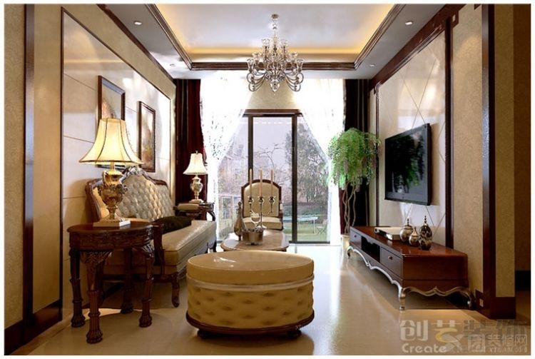 三居室美式风格_创艺-邕江郡-美式风格-装修效果图-x图片