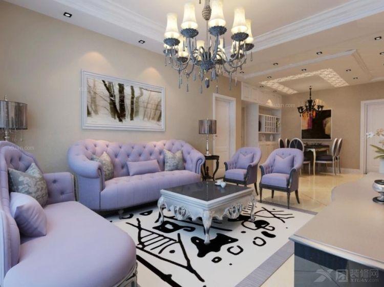 三室两厅欧式风格客厅沙发背景墙_盛唐至尊117简欧风格