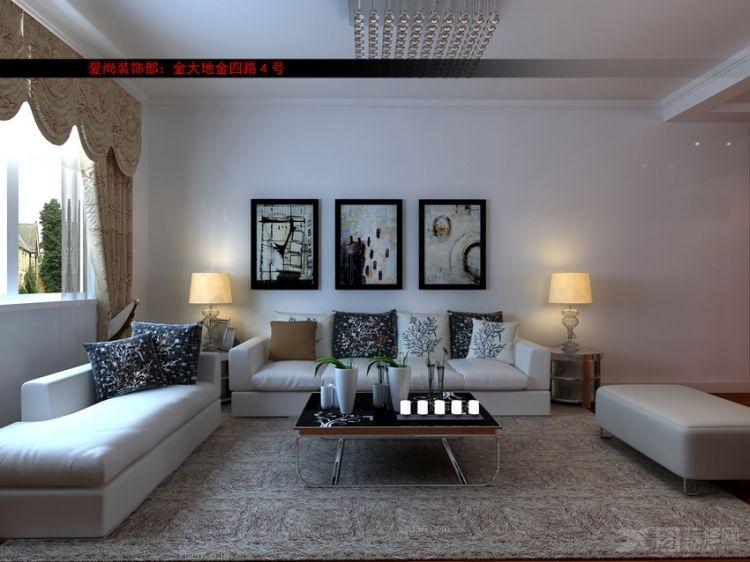 三居室现代简约沙发背景墙_奥林匹克