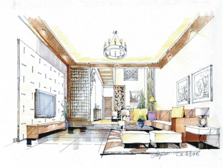 别墅客厅_星艺装饰手绘设计图