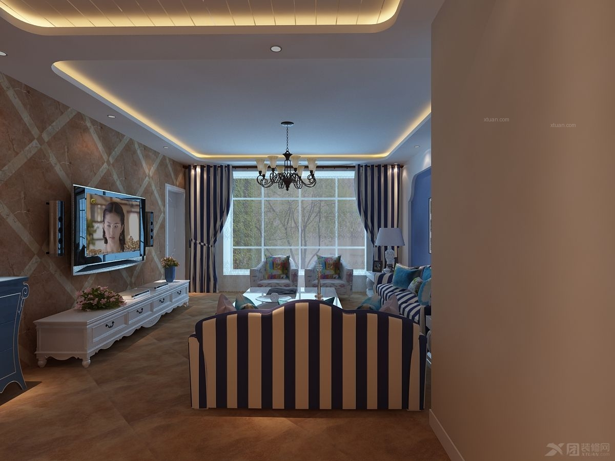 三室一厅地中海风格客厅_简约地中海图片