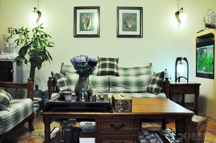 美式风格客厅沙发背景墙_锦秀半岛 怀旧&自然