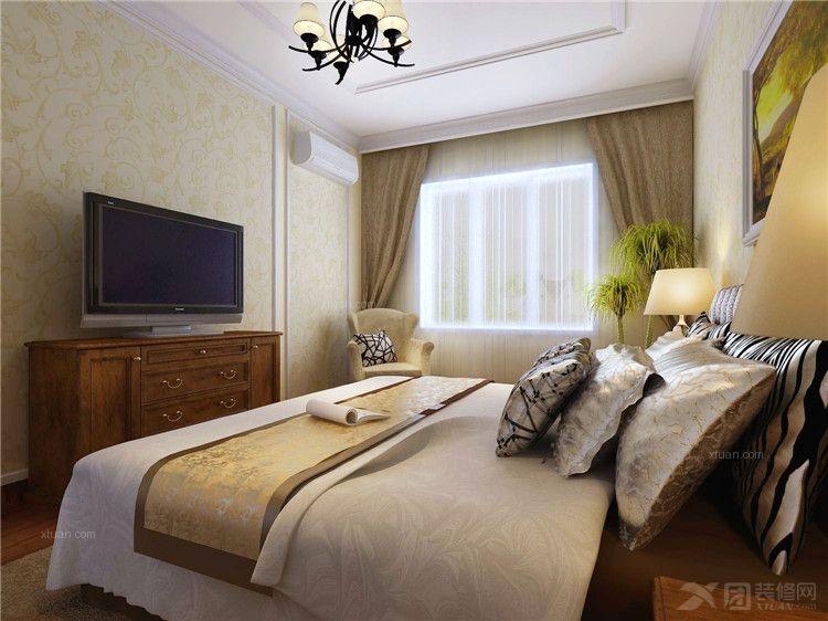 实木衣柜实木床装修效果图  户型:两居室 房间:卧室 风格:简欧风格