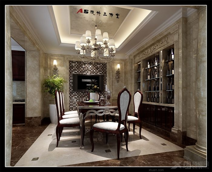 户型:别墅 房间:餐厅 风格:欧式风格 装修类型:家装 装修方式:清包工