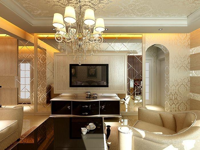 两室一厅简欧风格客厅电视背景墙_升龙广场68平简欧风格