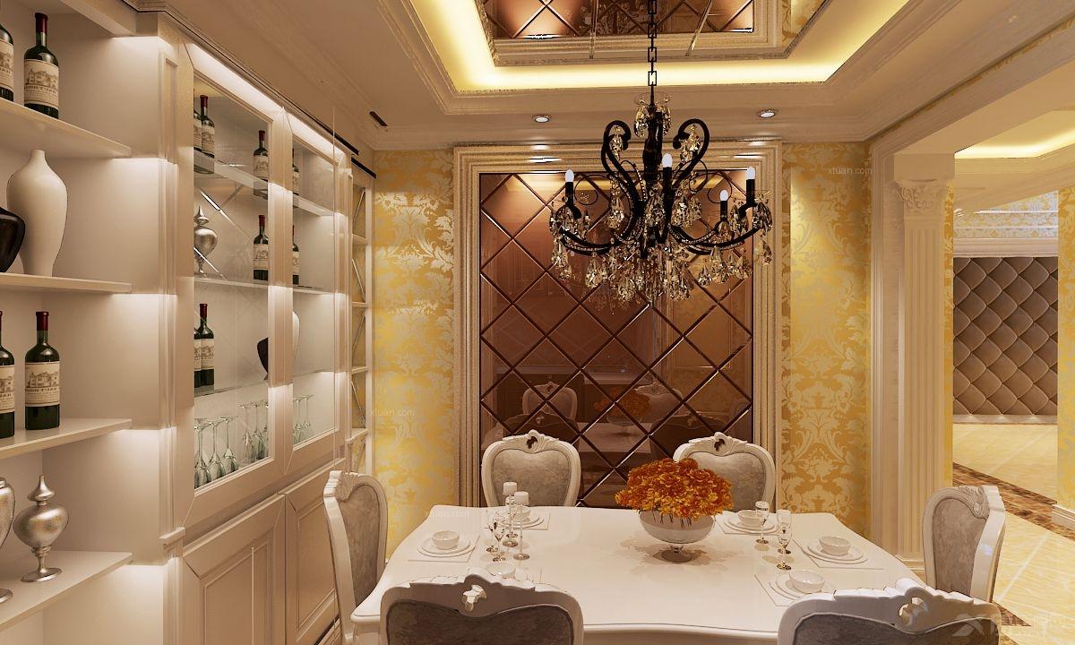 复式楼欧式风格餐厅_简约欧式装修效果图-x团装修网图片