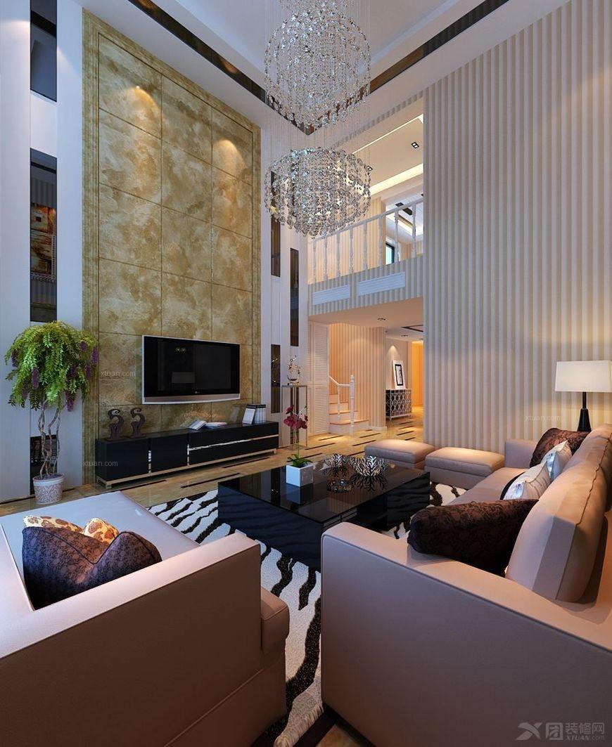 复式楼现代简约客厅电视背景墙_【西安城市人家】萨拉曼卡280平:注重图片