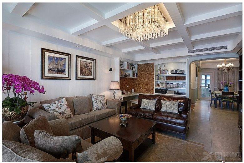 三室两厅美式风格客厅_半岛阳光a户型