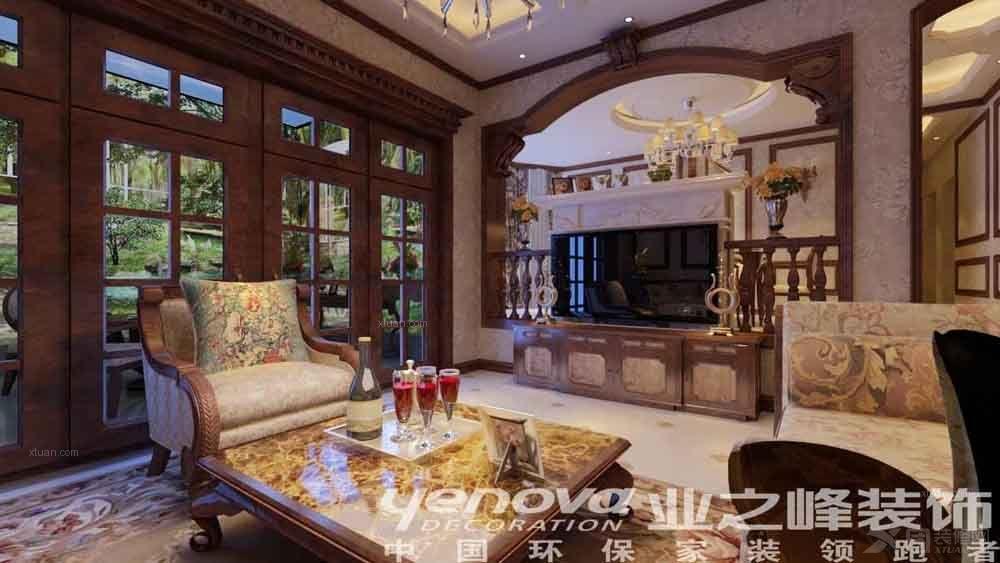 别墅欧式风格客厅_枫丹白露装修效果图-x团装修网