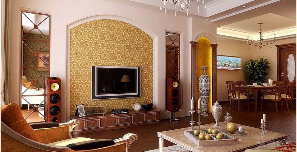 三居室欧式风格客厅电视背景墙_米兰居装饰110平米欧式风格三居室图片