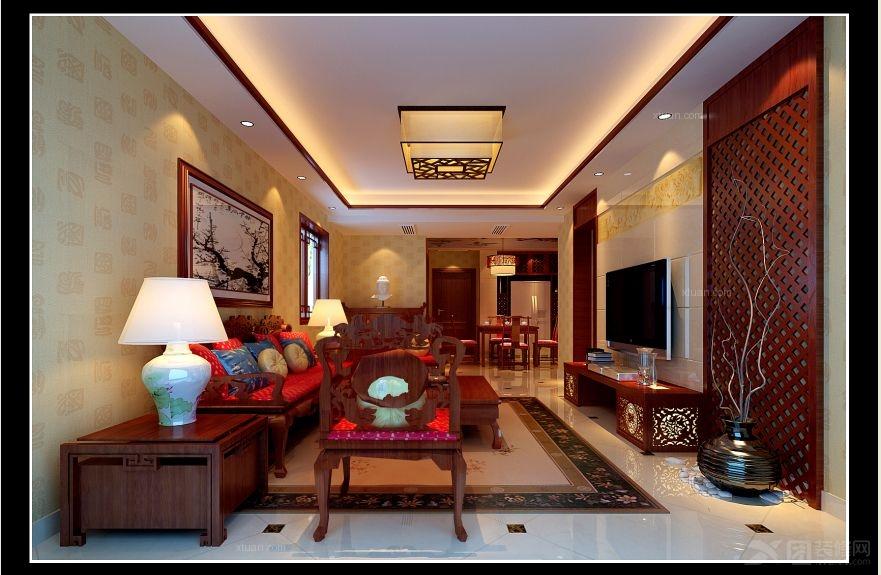 两室一厅中式风格客厅电视背景墙_红谷凯旋