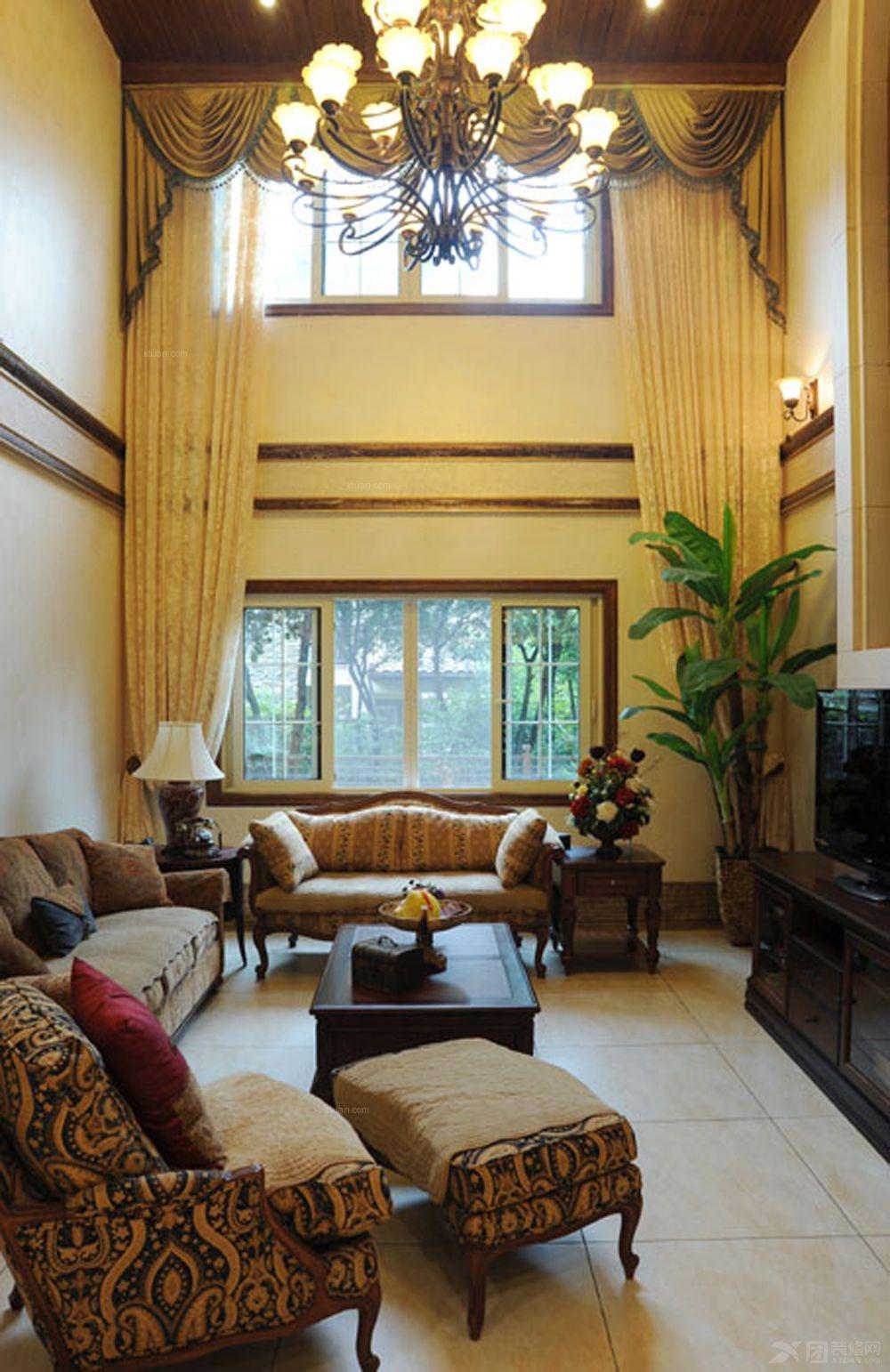 别墅美式风格客厅_弗莱明戈装修效果图-x团装修网图片