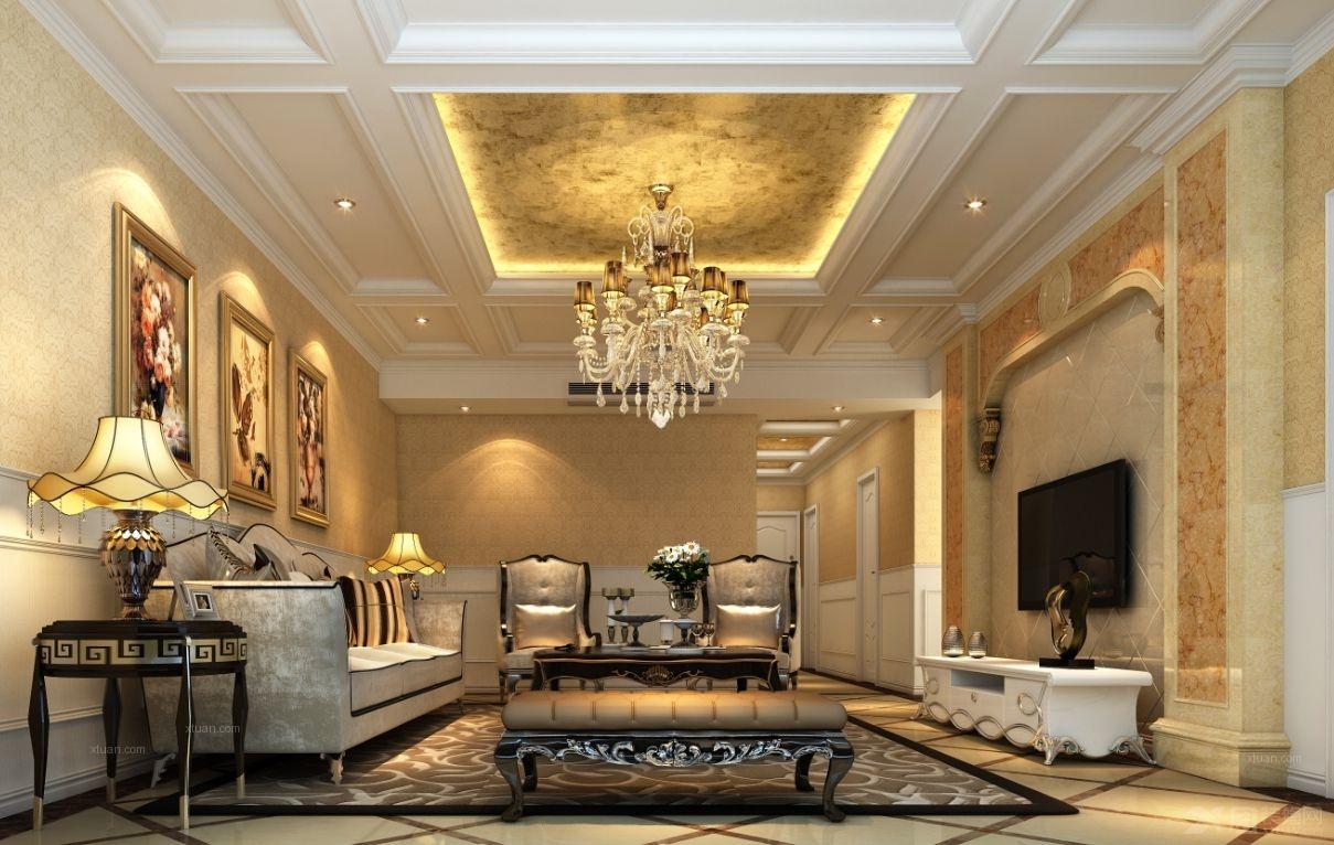 高贵典雅装修效果图; 三居室欧式风格客厅电视背景墙_高贵典雅;