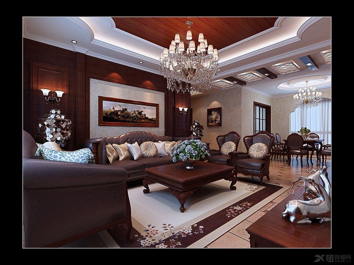 中式客厅风格装修效果图别墅:三室两客厅间:户型风格:欧式别墅流水厅房谁设计者是的图片