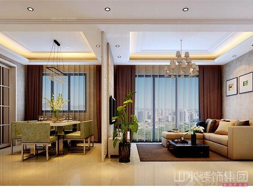 三室一廳現代簡約客廳_鼎元府邸小區戶型裝修效果圖-x