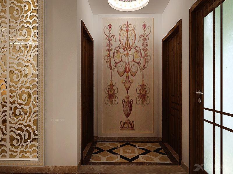 玄关装修效果图 彩色艺术玻璃蒂凡尼复古鹦鹉阳台吊灯 过道玄关走廊