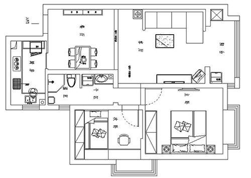 方圆创世两室两厅75平方简欧风格装修效果图