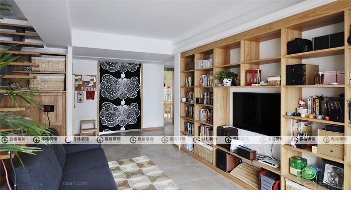 复式楼现代简约客厅电视背景墙_锦绣花园-130平米顶楼图片