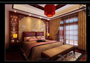 三室两厅中式风格主卧室_上上城中式装修效果图-x团图片