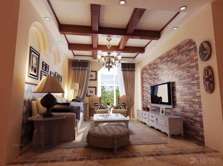 两室两厅美式风格客厅电视背景墙_国宝华府108平美式田园图片