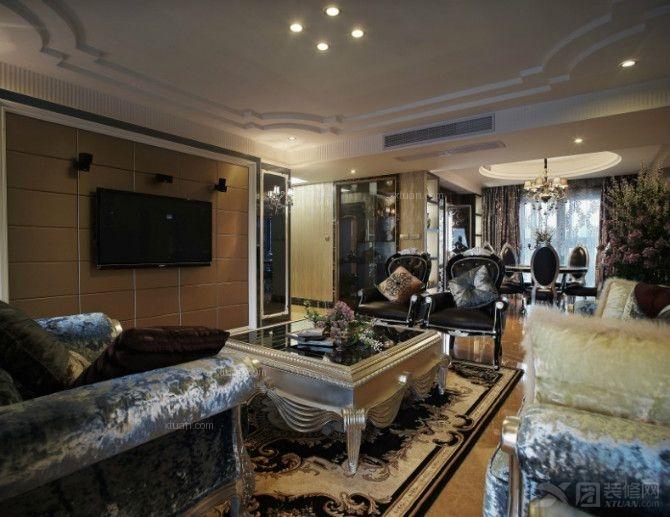 简欧风格客厅沙发背景墙_稳重奢华风金都汉宫案例分享—宝蓝空间设计