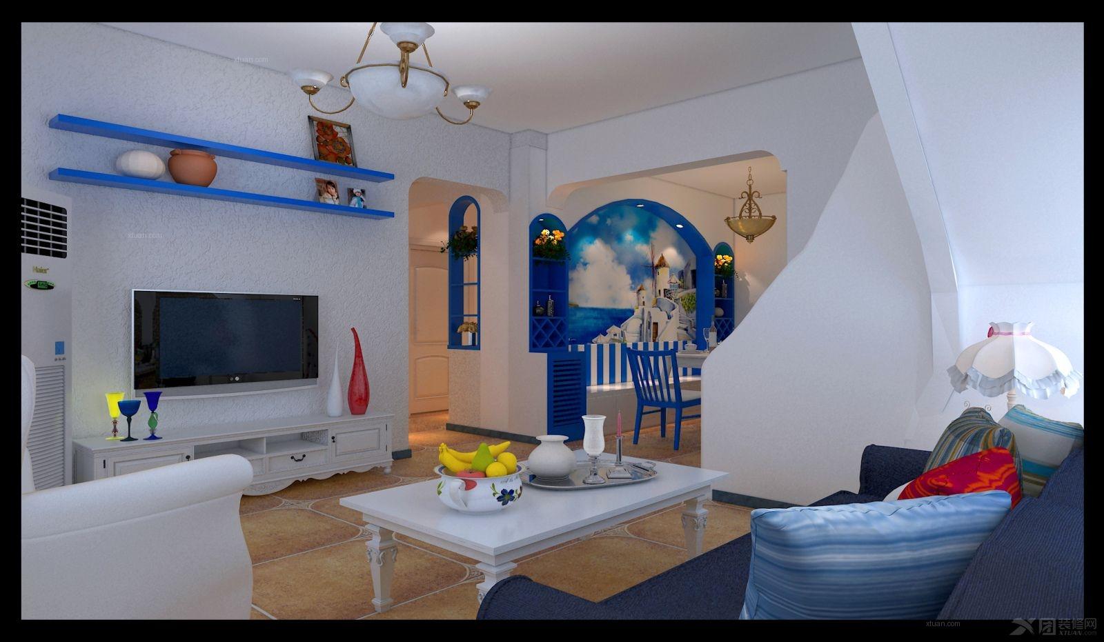 复式楼地中海风格客厅电视背景墙_【宝蓝空间设计】卡梅尔小镇地中海