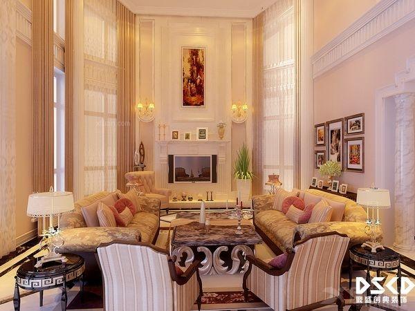 复式楼欧式风格客厅沙发背景墙_亿利傲东国际复式楼图片