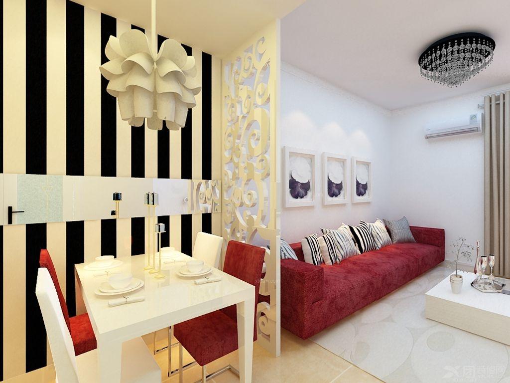 花果园三室一厅案例装修效果图 枫华府第,三室一厅简约风格装修效果图图片