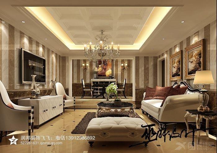 别墅美式风格客厅_金色江南|489平方|美式乡村风格