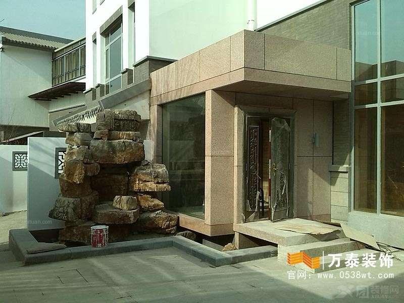 泰安东尊优山美地独栋风格,新中式混搭v风格别墅装修效果图9x16米三层别墅图片