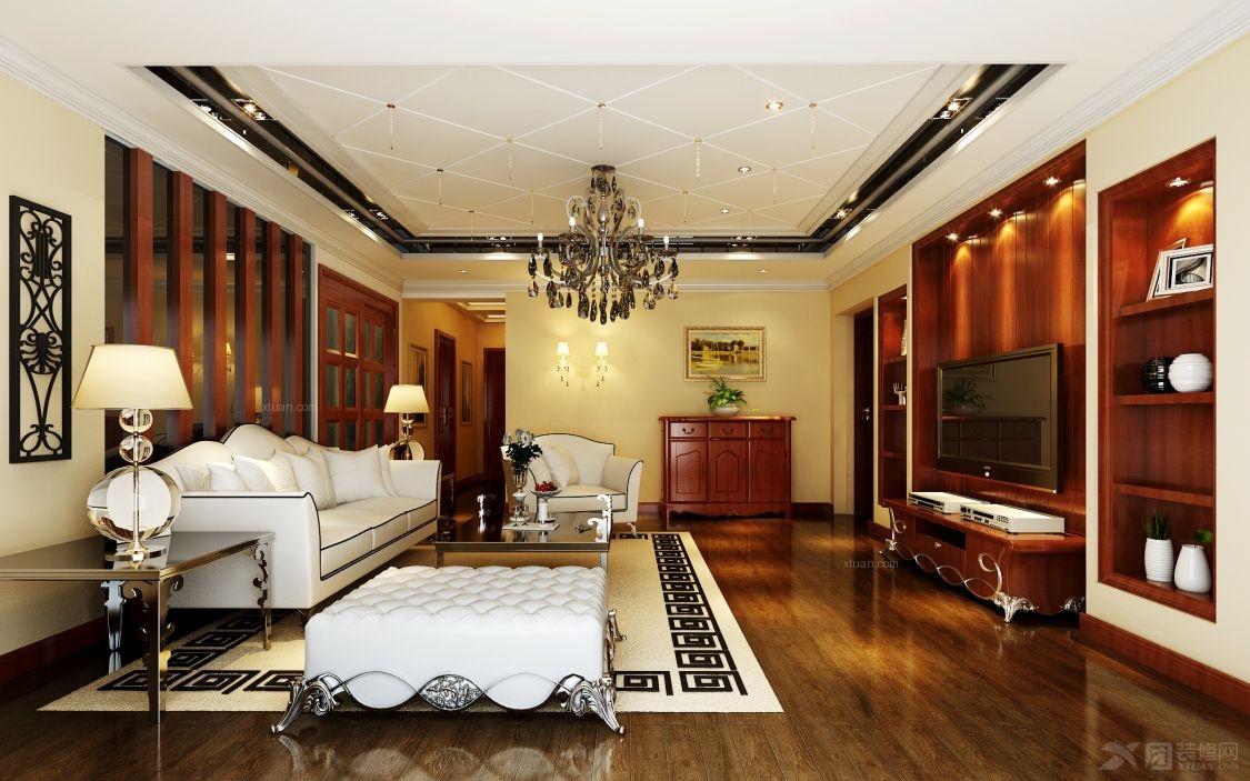 三室两厅欧式风格客厅电视背景墙_海润尊品装修效果图