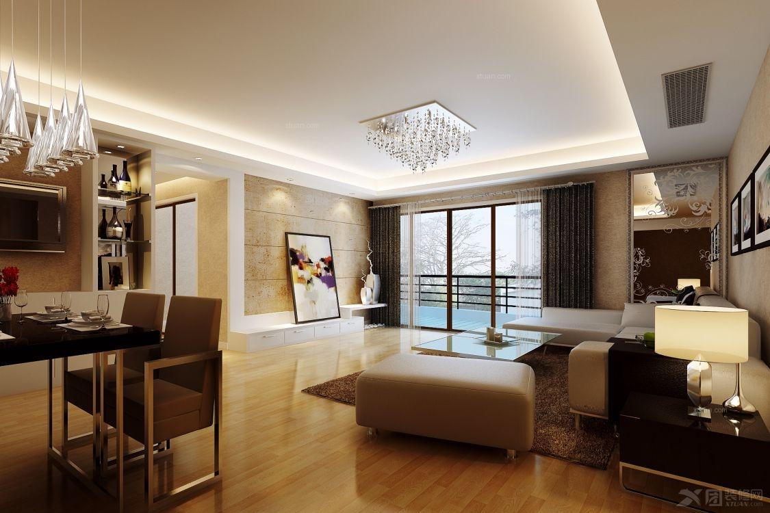 三室两厅欧式风格客厅开放式厨房_海润尊品图片