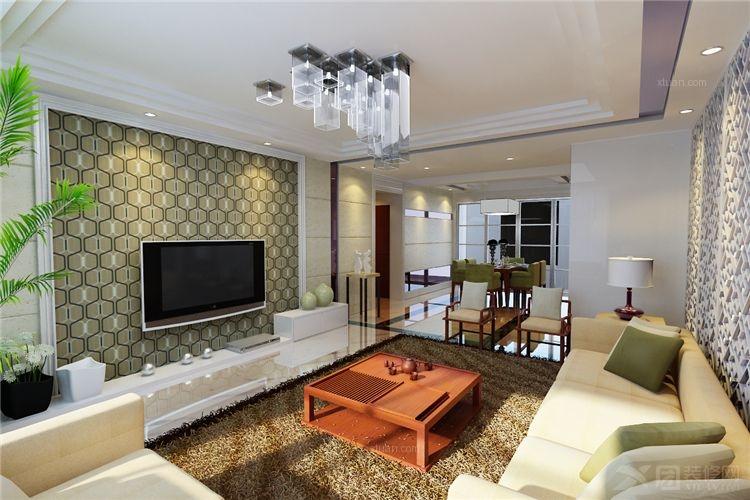 三室两厅现代简约客厅电视背景墙_帝都国际城--现代简约