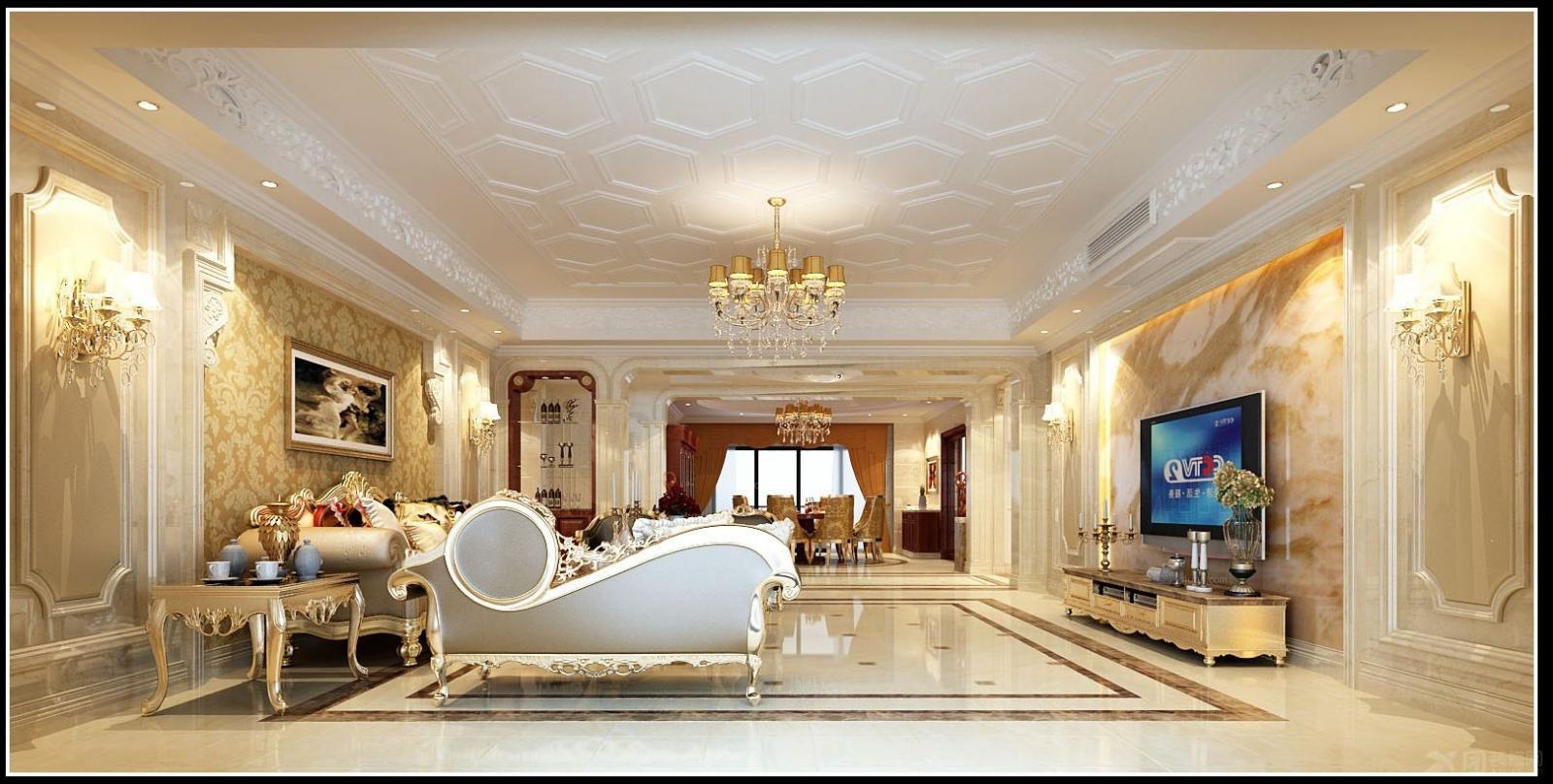 客厅装修效果图  户型:大户型 房间:客厅 风格:简欧风格 装修类型
