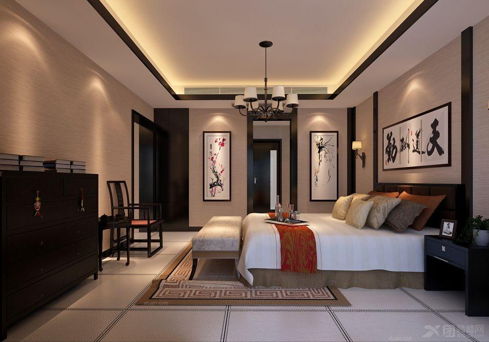 三室两厅中式风格主卧室_西安荣欣家装公司 雅荷四季城 现代中式