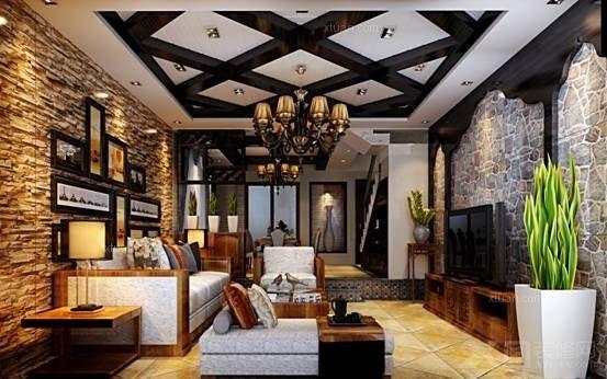 别墅地中海风格客厅沙发背景墙_安宁温泉山谷140平方米地中海风格小