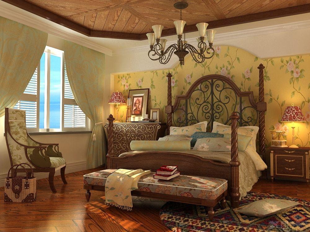 装修效果图  户型:三居室 房间:卧室 风格:美式风格 装修类型:家装图片