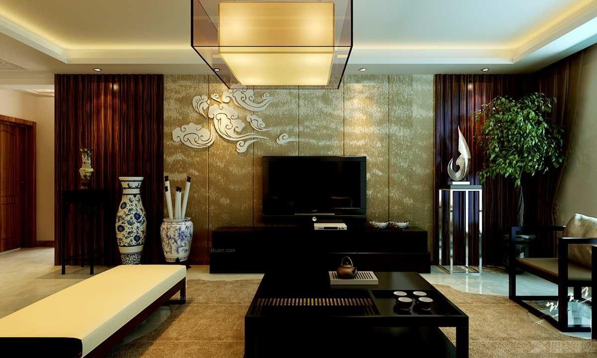 三室两厅中式风格客厅电视背景墙_帝都国际城--简中风格图片