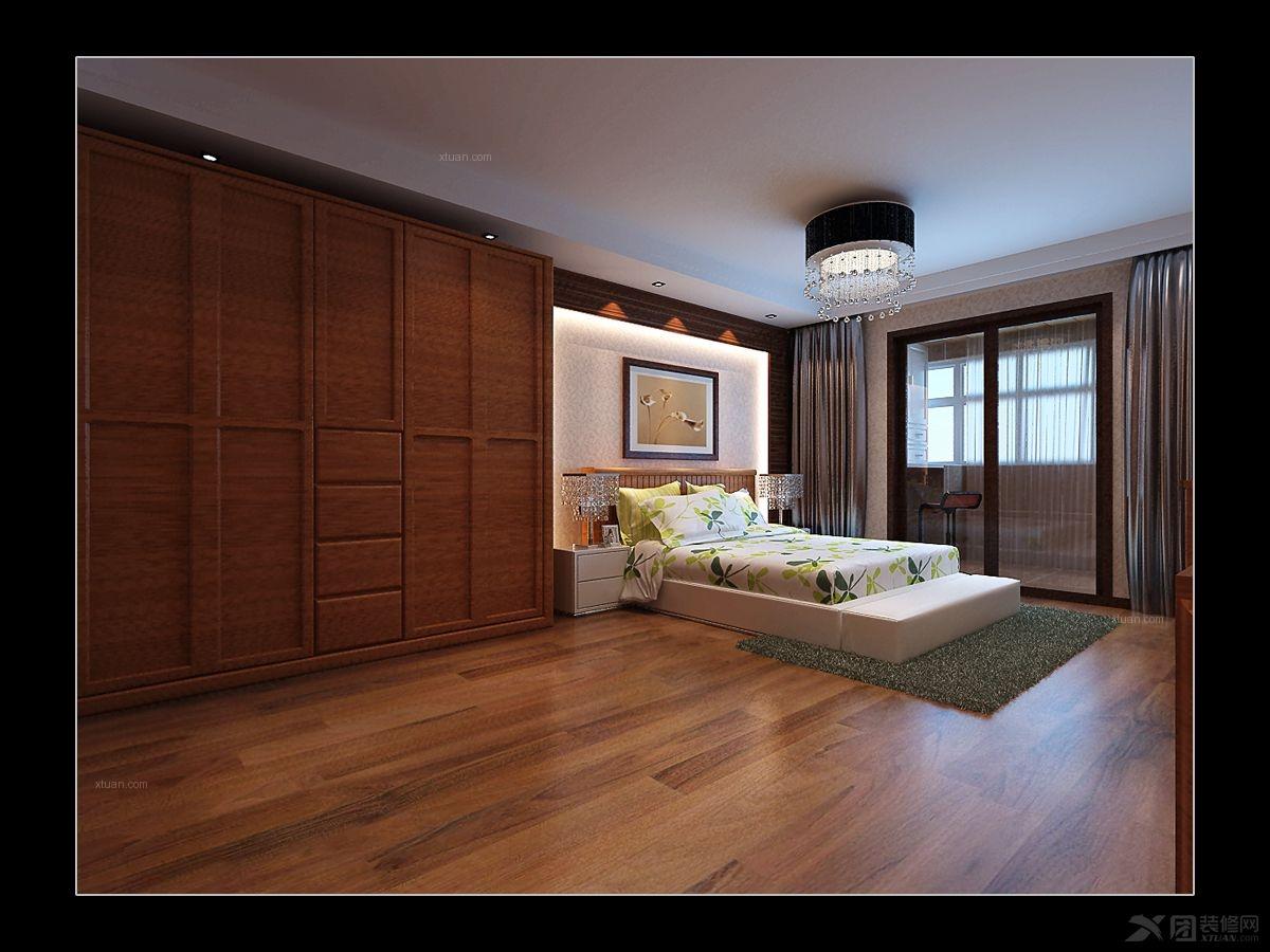 大户型中式风格卧室软装_政和苑--中式风格装修效果图
